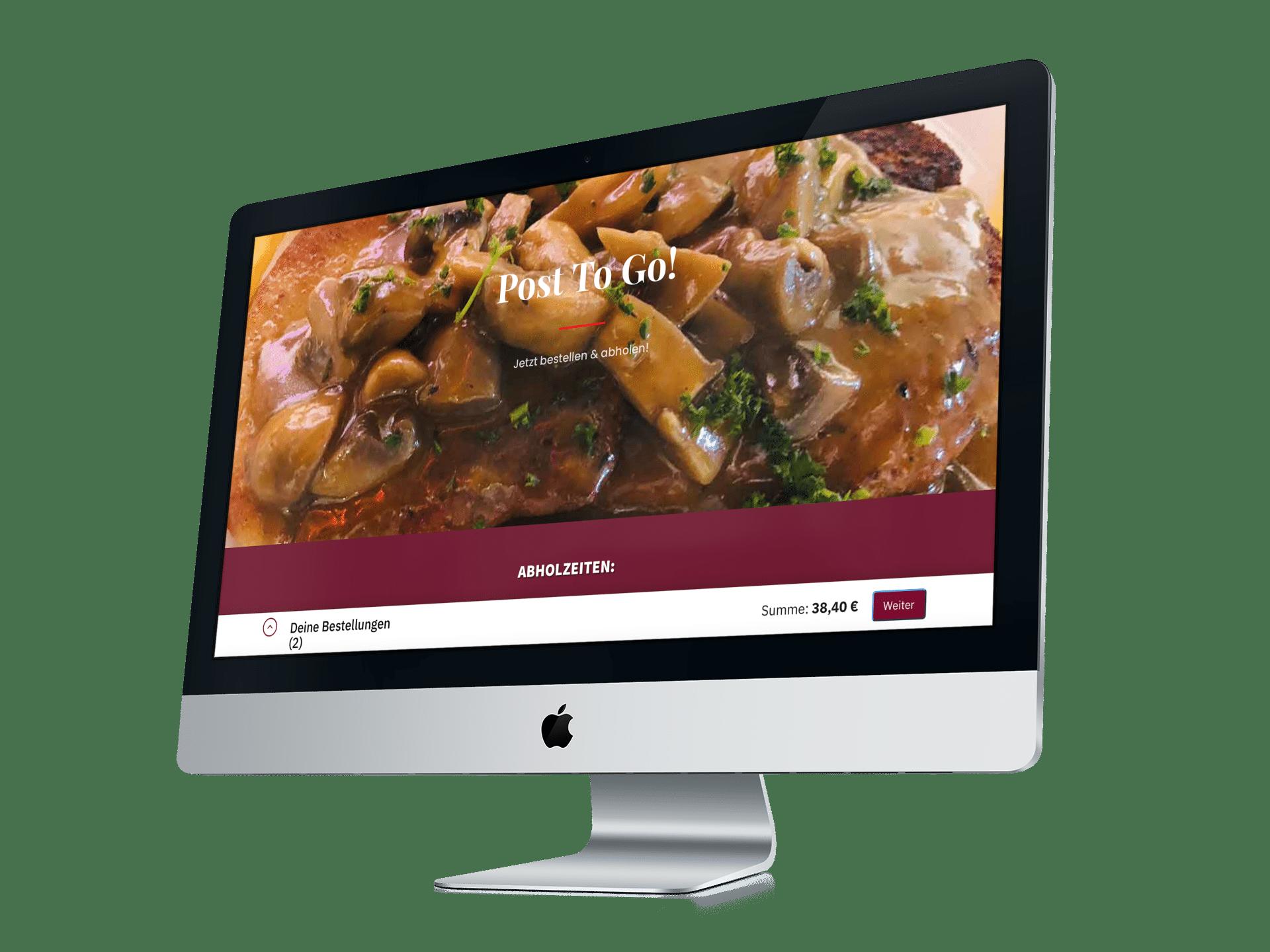 Online Bestellsystem Gastro auf dem IMac